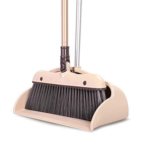 YOYOHOME Dustpan & Lobby Broom Combo 3 Foot Overall Height Ergonomic Dustpan and Telescoping Handle brown (brown-13)