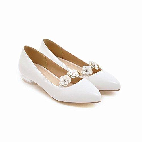 Carolbars Puntschoen Dames Applique Lage Hakken Loafers Schoenen Wit