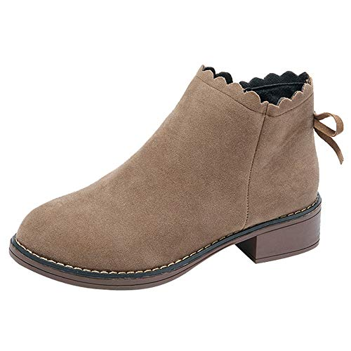 Duseedik Western Ankle Bootie, Women Round Toe Shoes Flat Slip on Bootie Zipper Suede Solid Color Short Boots Martin Boots