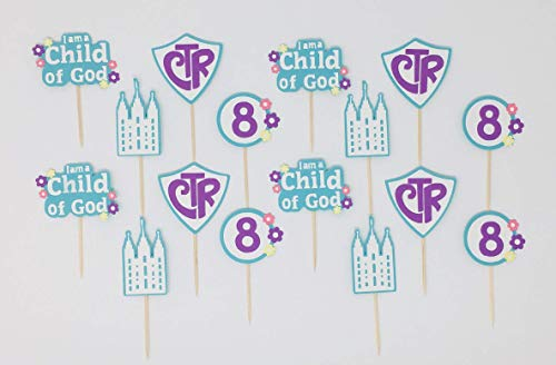 16-Pieces Set CTR Decorations Child of God LDS Cupcake Toppers My Baptism Cupcake Toppers