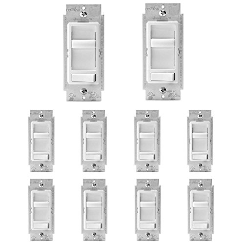 Leviton 6674-P0W SureSlide Universal 150-Watt LED and CFL/600-Watt Incandescent Dimmer, White, 10 Pack ()