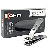 Kohm CP-240L Straight Edge Toe Nail Clippers for Thick Toenails, Strong Large Toenail Clippers for Men, Seniors, Adults