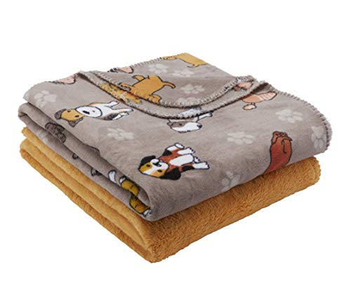 Mainstays Fleece Plush Throw Blanket, 2pk, Dogs ()