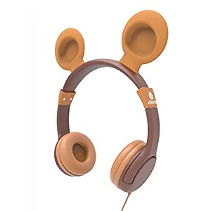 iClever BoostCare Wired Kids Headphones with Bear Ear On-Ear Headsets with 85 Volume Limited, Food Grade Silicon Material (HS11), Brown