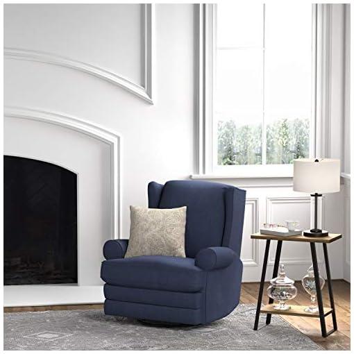 Living Room Amazon Brand – Ravenna Home Manning Swivel Base Recliner, 34.6″W, Blue