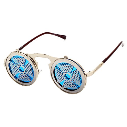 Sunglasses Lunettes en Vintage Steam Shades C16 silver hibote Homme ronde Clamshell personnalit¨¦ m¨¦tal Gothic Femme Windmill Punk R0EPAq