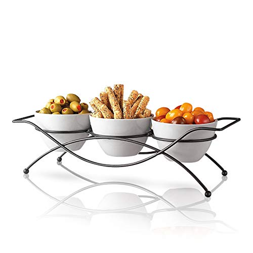 (Ceramic Serving Bowls with Metal Rack - Round White Bowls Party Display Set for Serving Snacks, Appetizers, Candy, Nuts and Dips)