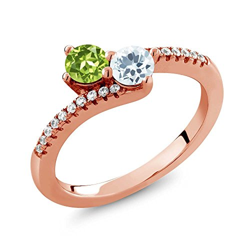 Gem Stone King 0.76 Ct Peridot Sky Blue Aquamarine 2 Stone 18K Rose Gold Plated Silver Bypass Ring (Size 6)