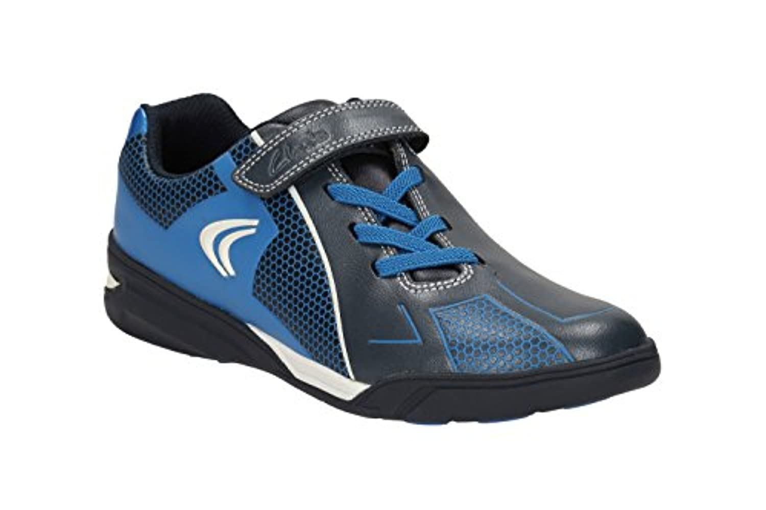 Clarks Boys Sport Out-Of-Sc Award Leap Jnr Leather Trainers In Navy Combi Narrow Fit Size 1