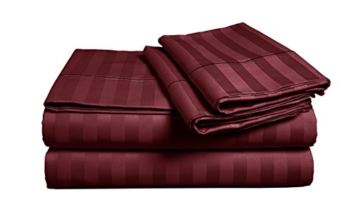 CHATEAU HOME COLLECTION 500 Thread Count 100% Egyptian Cotton Stripe Sheets Sets Deep Pocket Best Bed Sheets - Single ply Pure Natural Cotton Sheets Queen Size Sateen Weave Cotton Sheet Sets, Burgundy (Best Bed Sheets Under 100)