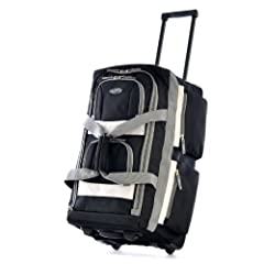 """This rolling duffel is constructed of Supreme """"PROTECFLON"""" Polyester with 1200 D. Poly. Recessed metal ball bearing in-line skate wheels. Hide-away retractable handle. A total of 8 convenient pockets allow for maximum packing versatility and ..."""