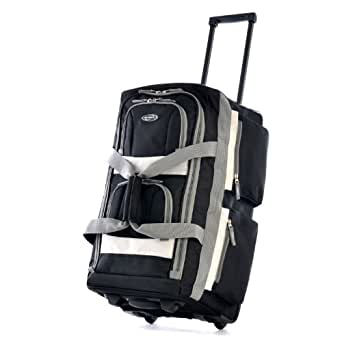 "Olympia Luggage 26"" 8 Pocket Rolling Duffel Bag, Black, One Size"