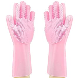 MOM'S GADGETS,Silicone Dish Washing Gloves, Silicon Cleaning Gloves, Silicon Hand Gloves for Kitchen Dishwashing and…