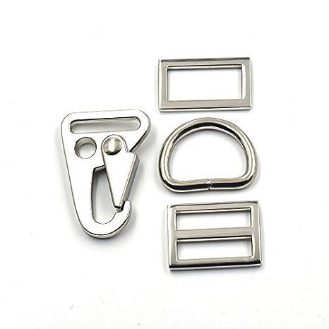 2 Sets 1 25mm Olecranon Hook HK Sling Clip Triglide D ring Buckle Rectangle Dog Collar Nickle