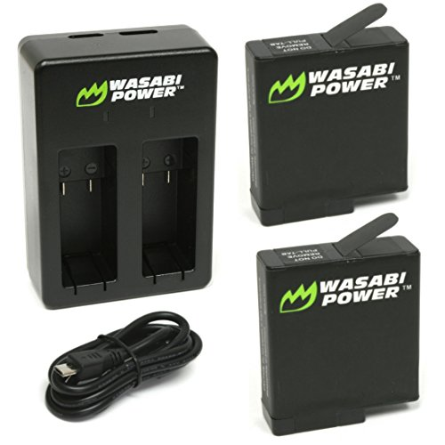 Price comparison product image Wasabi Power Battery (2-Pack) & Dual Charger for GoPro HERO 5 Black,  HERO 6 Black,  HERO (2018 model)