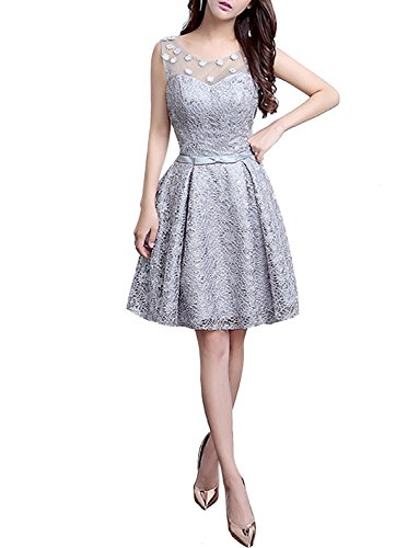 Levory J Women's Retro Floral Lace Cap Sleeve Vintage Swing Bridesmaid Dress (10, Silver Grey)