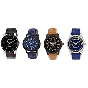 Rich Club Analogue Men's & Boys' Watch (Assorted Dial Assorted Colored Strap) (Pack of 4)