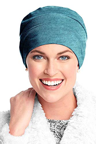 Headcovers Unlimited Three Seam Cotton Sleep Cap-Caps for Women with Chemo Cancer Hair Loss Neptune - Turban Headcover
