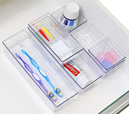6 Pack – Simple Houseware Clear Plastic Desk Drawer Organizers 41k16Kde1mL