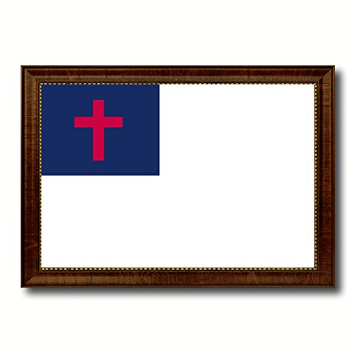 Kayso Christian Religious Military Flag Canvas Print with Brown Picture Frame Home Decor Wall Art Decoration Gifts by SpotColorArt