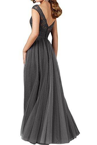 La_mia Braut Damen Traube Chiffon Spitze Hundkragen Abendkleider Brautjungfernkleider Brautmutterkleider Lang A-linie Rock Traube gfVarl