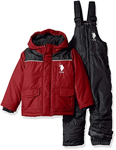 US Polo Association Boys' Toddler 2 Piece Snowsuit with Ski Bib Pant Set, Red/Black, 2T