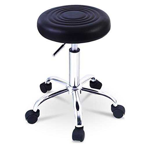 Goplus Adjustable Hydraulic Rolling Swivel Bar Stool Tattoo Facial Massage Spa Stool (1, Black)
