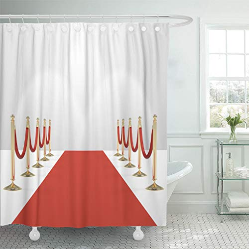 Emvency Shower Curtain Red Carpet Ropes on Golden Stanchions Exclusive Event Movie Shower Curtains Sets Hooks 60 x 72 Inches Waterproof Polyester Fabric for $<!--$24.98-->