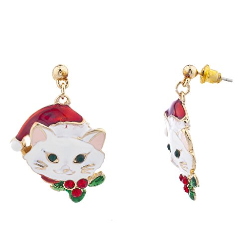 Lux Accessories Holiday Christmas Xmas Cat Kity Goldtone Red Green Drop Earrings