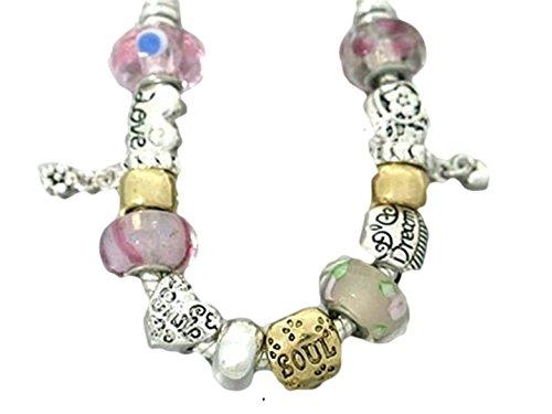 Love Heart Charm Bracelet BJ Murano Glass Beads by Recyclebabe Bracelets