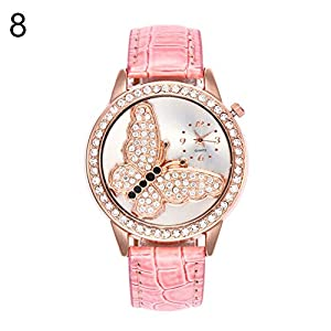 lightclub Round Butterfly Rhinestone Faux Leather Band Analog Women Quartz Wristwatch - Pink