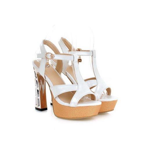 Amoonyfashion Donna Open Toe Tacco Alto In Materiale Morbido Sandali Solidi Con Cinturino A T Bianco