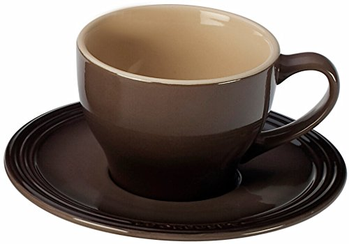 Le Creuset Stoneware Set of 2 Cappuccino Cups and Saucers, Truffle Truffle Cup
