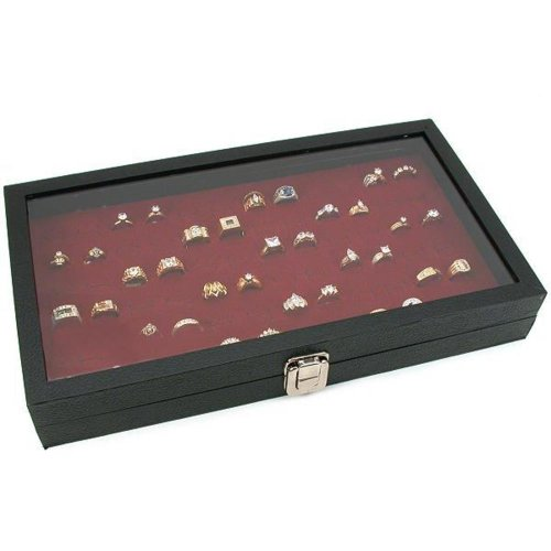Glass-Top-Jewelry-Red-72-Ring-Display-Case-Box-Bonus