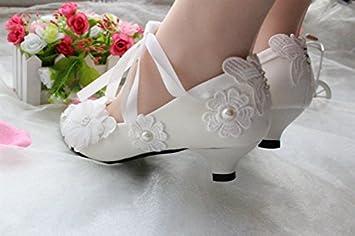 75b36ed68f94 JINGXINSTORE Ivory White Wedding Shoes Lace Pearl Bridal Flats Low High  Heels Pumps Size 5-