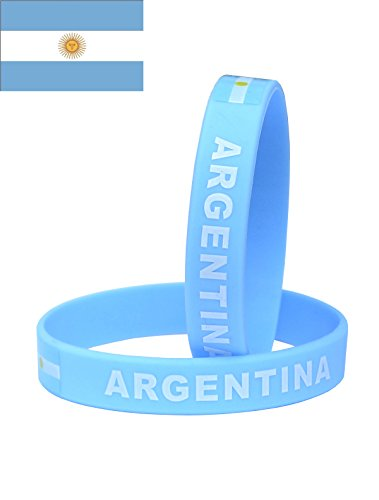 VEWCK Flag Silicone Bracelet Classic Bangle Letter pattern 40 countries 2-Pack (Argentina-Lake blue)