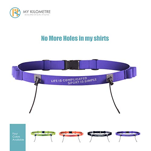 (MY KILOMETRE Running Belt Race Belt for Triathlon Cycling Marathon Race Number Belt with Gel Holders (Purple))