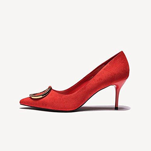SUNNY Schwarz Wies Dekoration PU 9 Metall Sunny Heels 17206 High Mikrofaser Einzelne Rot Schuhe Weibliche aaAqwr