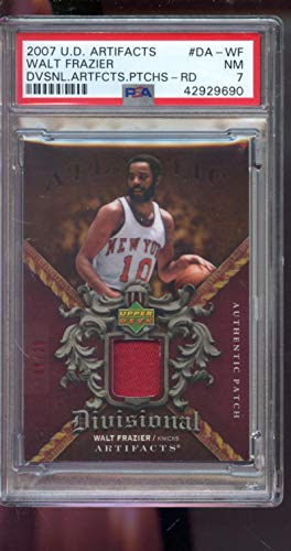 - 2007-08 Upper Deck Artifacts Divisional Authentic Patch 8/29 Walt Frazier Game Used Game Worn Jersey NM PSA 7 Graded NBA Basketball Card