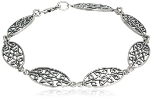 Sterling Silver Oxidized Celtic Knot Oval Link Bracelet, (Sterling Silver Oval Celtic Knot)
