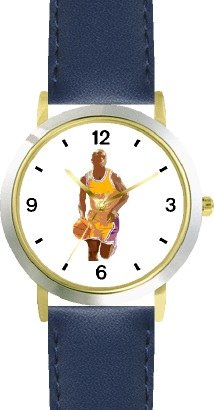 Basketball Player No.2 Basketball Theme - WATCHBUDDY DELUXE TWO-TONE THEME WATCH - Arabic Numbers - Blue Leather Strap-Women's Size-Small by WatchBuddy