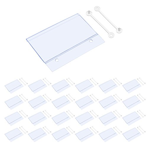BCP 25PCS Clear Color Plastic Shelves Wire Shelf Price Label Holder Merchandise Sign Display Holder (Holder Price Label)