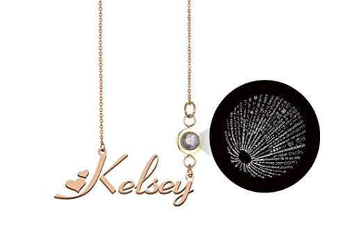 GR35Z9 Personalized My Name Necklace I Love You Projection Necklace ()