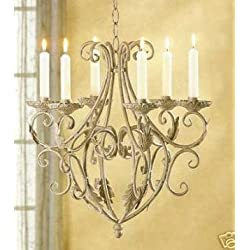 Victorian chic Vintage Iron shabby Scroll hanging Chandelier Candle Holder