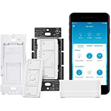Lutron Caseta Wireless Smart Lighting Single Pole/3-way Dimmer Switch Starter Kit, P-BDG-PKG1W-A, Works with Alexa, Apple HomeKit, and the Google Assistant