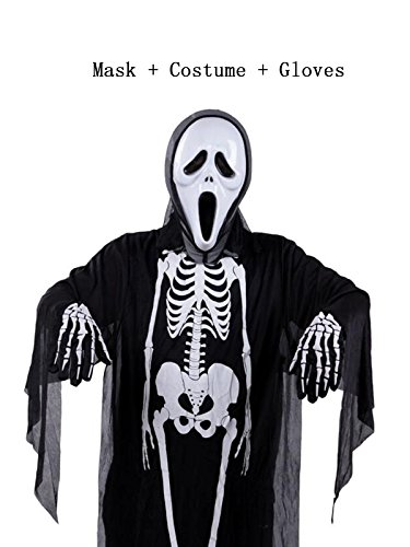 Period Costume Hire (Century Star Halloween Cosplay Classic Skeleton Ghost Skull Face Mask Full Set CostumeChild Set B One Size)