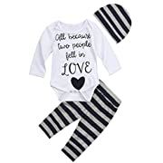 gllive Baby Girls Boys Love Bodysuits Romper Outfit Pants Set Headband (0-6 Months, Grey)