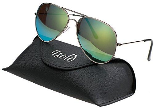 conducción con de gafas UV Protección polarizado el Green 4sold Hombre de caso Aviador 400 sol 8wx00pn