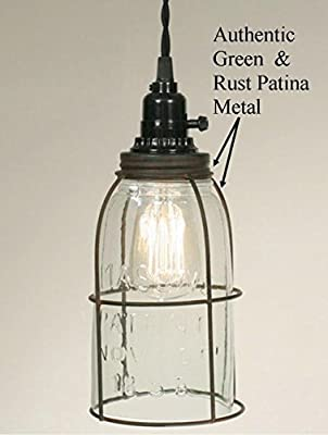 Plug In Mason Jar Swag Lamp Vintage Rustic Industrial Primitive Pendant Light Glass Shade 11""