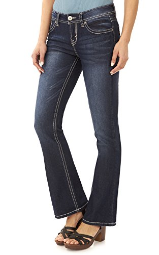 (WallFlower Women's Juniors Basic Legendary Bootcut Jeans in Britney Size:15 Long)